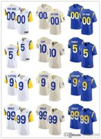 "Custom Los Angeles ""Rams"" 99 Aaron Donald 5 Jalen Ramsey 9 Matthew Stafford 10 Desean Jackson 2 Robert Woods Football Trikots"