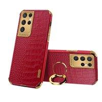Luxury Crocodile Texture Leather Phone Case for Samsung A72 A52 A71 A51 A41 A21S A12 5G Metal Ring Holder Cover Shockproof
