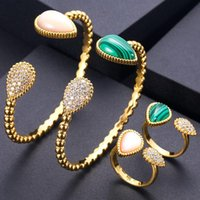 Earrings & Necklace Jankelly Luxury Unique African Bangle Ring Set Jewelry Sets For Women Wedding Cubic Zircon Crystal CZ Dubai Bridal