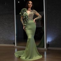 2021 Designer Fashion Mermaid Evening Dresses Long Sleeves Beaded Ruffled Prom Dress Chic Event Gown Army Green vestidos