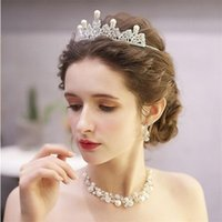 Trois pcs coiffe de mariée Crown Crown Collier Boucles d'oreilles Bijoux Ensemble pour Fille Super Fairy Sweet Anniversaire Dîner dîner fête des cheveux