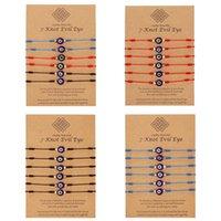Rinhoo 6 шт. / Компл. Турция злые глазульные узлы Струнные браслеты для женщин ручной работы сплетенные красные черные веревки Lucky дружба детские ювелирные изделия браслеты
