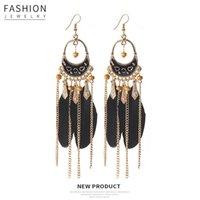 Bloqueo de moda en forma de aceite goteo cadena de plumas aretes de borla estilo étnico aretes de hoja larga