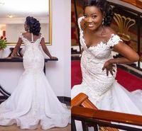 Plus Size Mermaid Wedding Dress Off Shoulder 3D Lace Appliques Beaded Zipper Back Bridal Gowns vestido de noiva