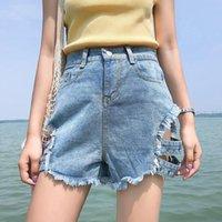 Danjeaner Корейская версия Летняя высокая талия, выдолбленная заклепка джинсовые шорты сексуальные широкие ногой рваные отверстия джинсы плюс размер короткие брюки женские