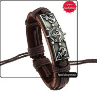 Woven Legierung Vintage Armband Persönlichkeit Boot Anker Kuh Leder Armband Hand Leder Seil 2 Yuan Shop Schmuck Großhandel B01765