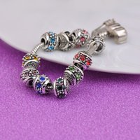 Vintage Silver Plated Charm Bead Rhinestone Beads Fit Pandora Charms Bracelets & Bangle Fashion Jewelry DIY Accessories