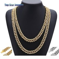2018 New 14K Gold Plated MIAMI CUBAN LINK Full Cubic Zirconia Necklace Hip Hop Bling Jewelry Hipster Men Women Curb Butterfly Clasp Chain