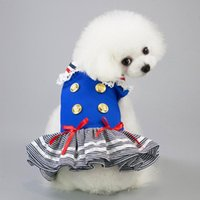 Dog Cat Puppy Halloween Navy Striped Sailor Costume Lace Patchwork Sleeveless Dress Christmas Outfit Pet Birthday Party Dresses