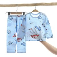 New children's home wear pajamas summer cotton underwear set hollow thin air conditioning suit two piece suit for boys and girls