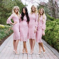 Blush Pink Full Lace Tea Length Plus Size 2021 Sheath Bridesmaid Dresses Jewel 3 4 Long sleeve poet Zipper Empire tulle custom made