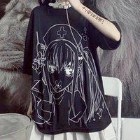 Women's T-Shirt Women Goth Tshirt 2021 Harajuku Anime Girl Print Alt Clothes Aesthetic Streetwear Mall Tops Japanese Style Tee Shirt
