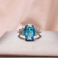 Cluster Rings Bague Ringen Silver Aquamarin Gemstone Women Ring 10*14mm 925 Finger Fine Jewelry Gift Weddiing Party Size 6-10