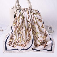 Шарфы белые шелковые Sauqre шарф женские цепи печатанные лобные квадратные навязки галстуки галстук 2021 капель