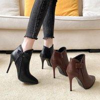 أحذية الكاحل النساء سوبر عالية الكعب الشتاء أفخم الأحذية أشار تو بوتي البوتين موهير متماسكة الجوارب الخنجر على مضخات