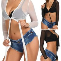 Swimming Suit Costume Women Bikini Cover-up Clothes Mesh See-through Long Sleeve Solid Bandage 2021 Summer Sexy