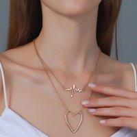 قلادة القلائد العصرية مزدوجة الطبقات نبضات القلب قلادة القلب الفريد تخطيط القلب تردد سلسلة الترقوة للنساء أنثى المجوهرات