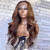 Dessine en soie au chocolat Brown Top pleine dentelle ombre blonde ondulée 13x6 transparent frontal de cheveux humains perruque 360 Rémunération frontale