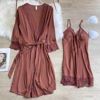 Women's Sleepwear 2 Pieces Robe Set Women Satin Kimono Bathrobe Gown Soft Nightgown Lace Patchwork Nightdress With Chest Pads Lingerie