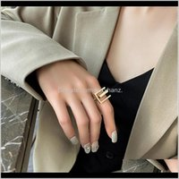 Band Rings Jewelryexaggerated Metal Geometric With Adjustable Ring For Women Ins Fashion Jewelry Aessories Valentines Day Gift Drop Delivery