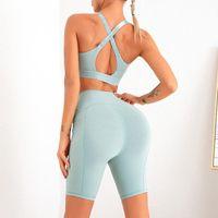 Women's Tracksuits Women Shorts Sets Cross Shockproof Sports Bra Naked Feeling Yoga Ropa Deportiva Mujer + Fitness Bubble BuGym Leggings