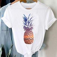T-Shirt Kadınlar 90 S Ananas Plaj Meyve Moda Bayanlar Bahar Yaz Giysileri Şık Tshirt Üst Lady Baskı Kız Tee T-shirt Kadınlar