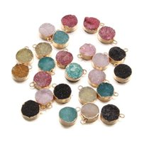 Charms Natural Stone Agates Pendant Round Crystal Quartz Pendants For DIY Necklace Earring Jewelry Making 1Pcs