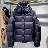 Fast Ship Puffer Down Jacket Mens and Women Long Detachable Sleeve Designer Male Hooded Side Zip Pocket Silicone patch Warm Winter Coat