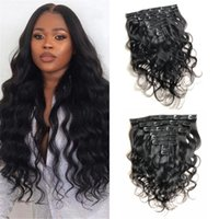 Mongolian Body Wave 120G Real Natural Color Human Hair Clip in Extensions Machine Made Remy 8 pcs Full Head Bundles
