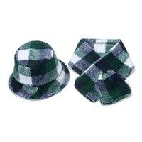 New Winter Panama British Style Outdoor Lamb Warm Thicken Fluffy Green Tartan Plaid Bucket Hats Scarf set For Men Women