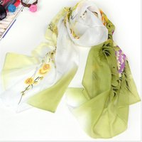 Wholesale-160*50cm new 2015 long Korean fashion flower print chiffon scarf women winter scarves shawls wraps DFF5067