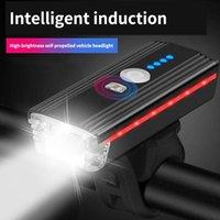 Bicicleta luzes headlamp de bicicleta sensor inteligente carregando forte luz noite montanha fones de ouvido equipado