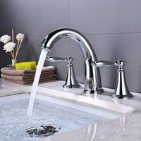 Torneiras de pia do banheiro Preto / prata cobre e água fria torneira de bacia dupla 3 buracos split de três peças de torneira de banho