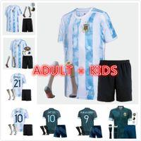 Argentinien Fussball Trikots 2021 2022 Kun Aguero Lo LO Celso Martinez Tagliendico 20 21 Messi Dybalera Erwachsene Männer Kinder Fußball-Kit Shirt Set Uniforms Socken Hosen Shorts