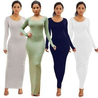 Dresses Sales!!! Spring Autumn Sexy Women Solid Color Long Sleeve Round Neck Bodycon Maxi Evening Party Sexy Comfortable