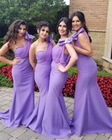 Lavender Mermaid Bridesmaid Dresses One Shoulder Neck Country Style Maid Of Honor Gowns Floor Length Plus Size Bow Knot Satin Wedding Guest Dress