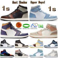 Con la caja 1 de alta OG zapatos de baloncesto de Jumpman 1s Blanca X UNC polvo de color azul Travis Scotts Chicago Tie Dye mujeres de los hombres zapatillas de deporte los