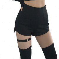 Women Short Chic Ring Garter Skinny Shorts High Waist Summer Black Goth Girls Harness Thigh Belt Strap Sexy Punk