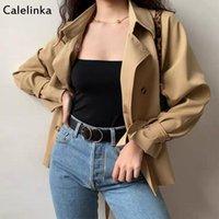 Calelinka Neue Vintage Weibliche Lose Fit Trenchcoat Herbst Frühling Doppelreibstreifen Khaki Graben Outwear Büro Beiläufige Mantel