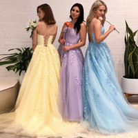 Sexy Lace Up Back Prom Dresses Spaghetti Straps Applique Tulle Bridal Party Evening Gowns Formal A Line Women Dress