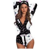 # A10 adorável gato impressão bodysuit para mulheres orelhas animais manga comprida com capuz casual sexy corpo terno corpos mujer jumpsuits mulheres macacos