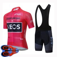 INEOS 팀 사이클링 저지 여름 남성 짧은 소매 자전거 셔츠 턱받이 반바지 세트 스포츠 유니폼 퀵 드라이 레이싱 착용 MTB 자전거 복장 41503