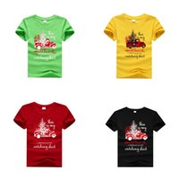 Kids Girls Christmas T-shirts Boys Cartoon Letter Printed Tops Kids Clothes Girls Casual Outfits Teens Festive Theme Tees 06