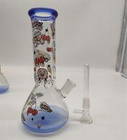 20cm 8 인치 프리미엄 블루 팁 및 하단 애니메이션 테마 WASP 물 담뱃대 물 파이프 봉 유리 봉수 14mm 다운 시스템 및 그릇 2 in 1 준비