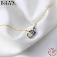 WANTME Fashion Round Geometric Blue Evil Eyes Pendant Necklace For Women Genuine 100% 925 Sterling Silver Office Party Jewelry 210507