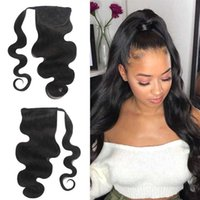 Human Ponytail Wrap Around Clips In Brazilian Remy Hair Pony Tail Extensions For African American