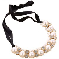 Pearl Necklace Beads Rhinestone Ribbon And Pendant Statement...