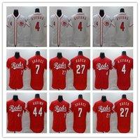 2020 남자 신시나트 야구 7 Eugenio Suarez Jersey 4 Shogo Akiyama 44 Aristides Aquino Trevor Bauer 홈 레드 팀 화이트 스티치 FlexBase