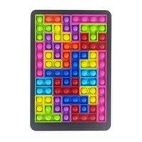 Puzzle Fidget Toys Jigsaw Tetris Ush Silicone Tangram, Push Bubble Sensory Toy, pour l'autisme Besoins spéciaux Stress Soulagement Soulagement Soulagement,