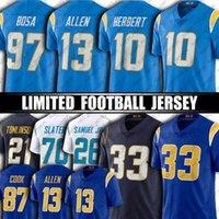 "5 Tyrod Taylor 10 Justin Herbert Jersey Keenan Allen Joey Bosa Football Jerseys Derwin James Jr Jared Cook Los Angeles ""Chargers"" 30 Austin Ekeler Kenneth Murray"